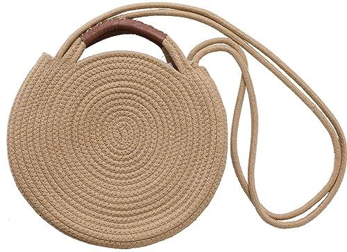 75004af29fc4 Round Cotton Rope Shoulder Bag with Leather Top Handles and Shoulder Strap,  Handmade Natural Material Handbag, Ultra Soft