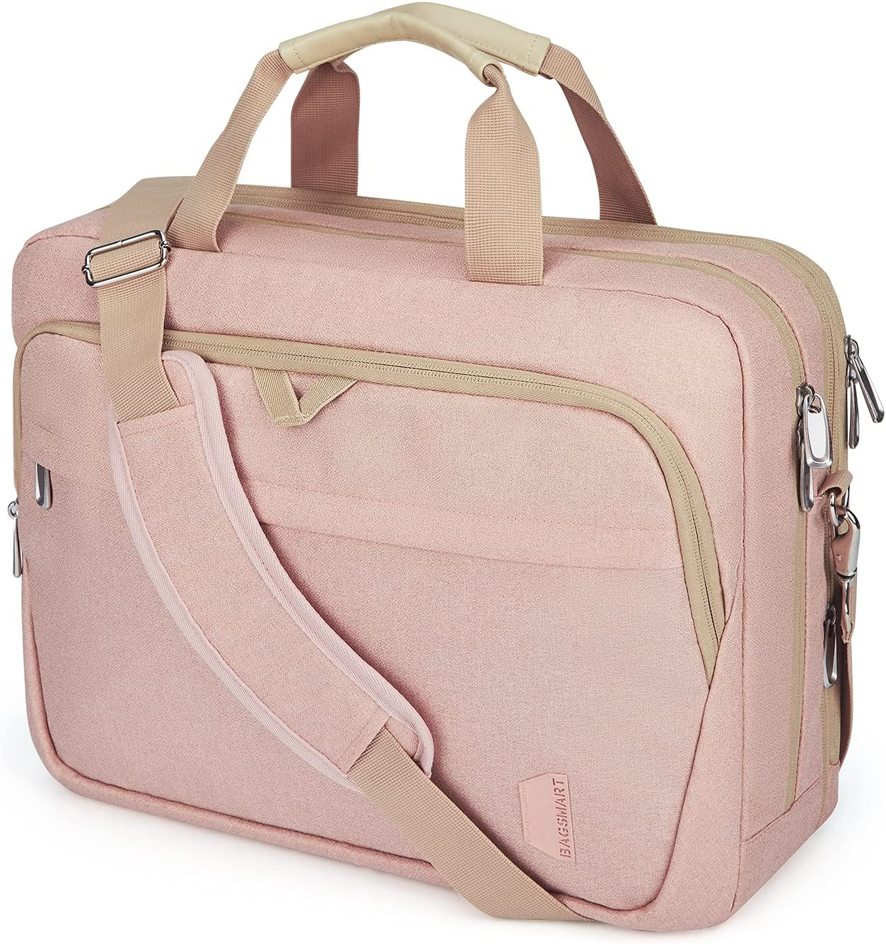 17.3 Inch Laptop Bag,BAGSMART Large Expandable Briefcase for Women Business Office Travel Computer Bag Shoulder Bag Water Resistant Anti Theft Durable,Pink