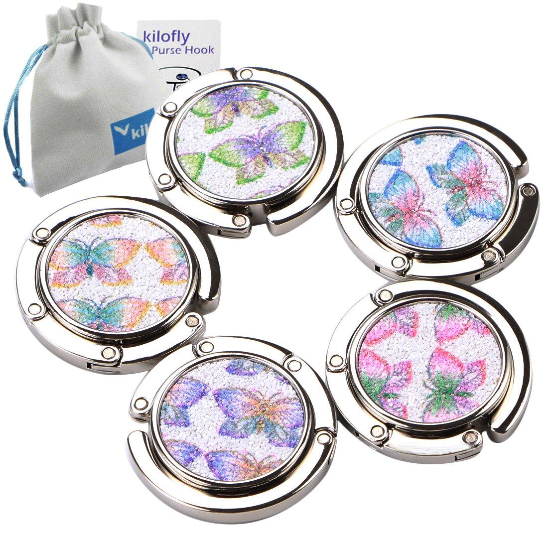 kilofly–Juego de gancho plegable para colgar el bolso de mano o el monedero, 5 unidades, con bolsa de regalo