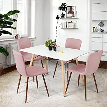 Amazon.de: coavas Esszimmerstühle Stoff Kissen Küchentisch Stühle ...