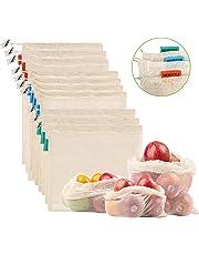 NEWSTYLE Bolsa de Producción Reutilizable,Juego de 10 Bolsas de Malla Reutilizables Perfectas para Productos Frescos, Frutas y Verduras,Lavable y Libre de BPA, 3 Tamaños (3*S, 4*M, 3*L)