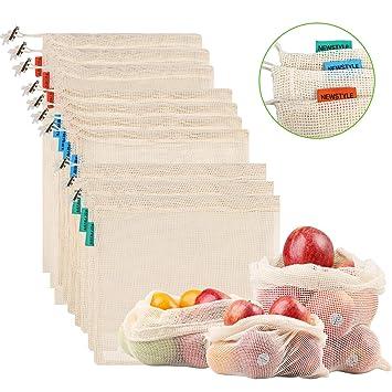 NEWSTYLE Bolsa de Producción Reutilizable,Juego de 10 Bolsas de Malla Reutilizables Perfectas para Productos Frescos, Frutas y Verduras,Lavable y ...