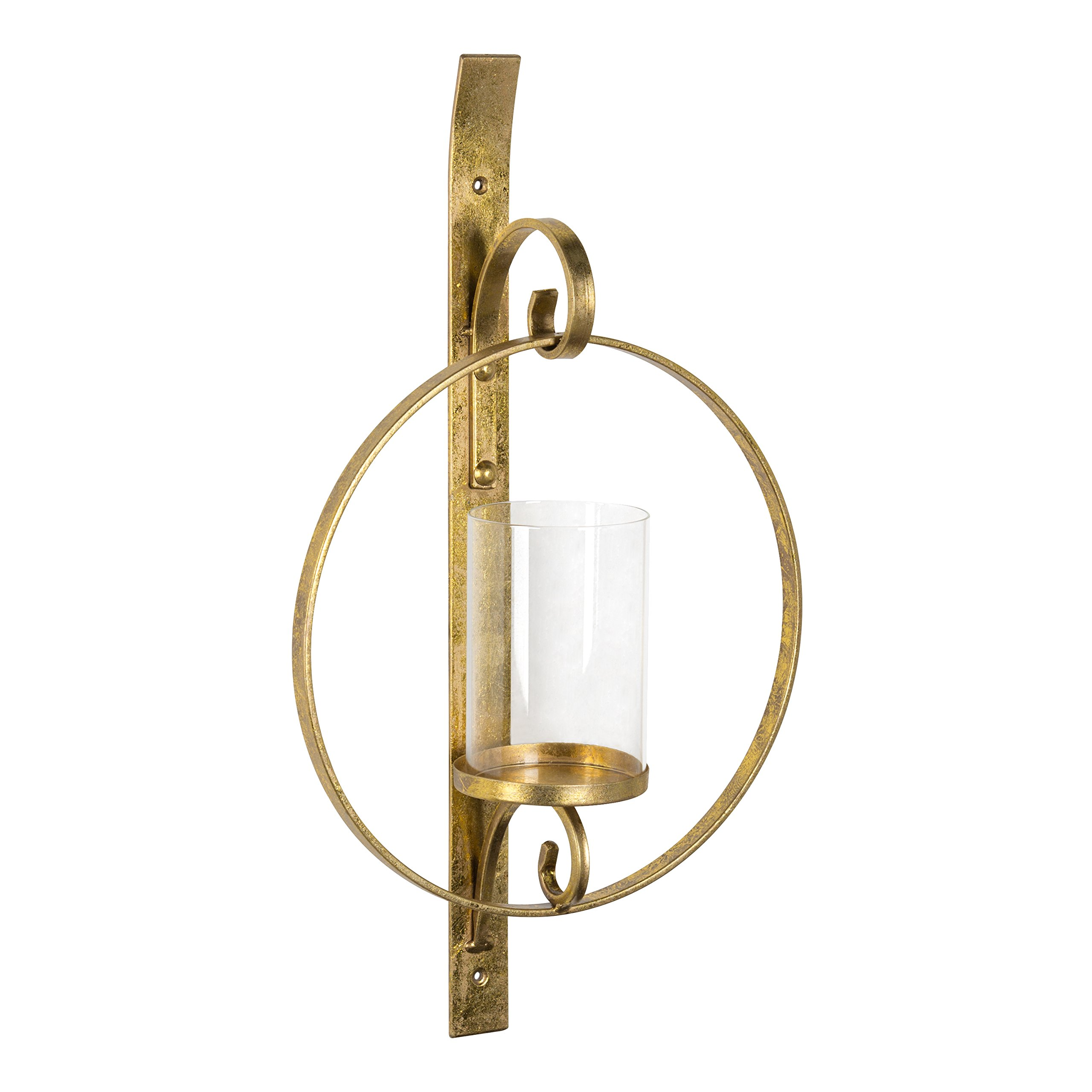 Kate and Laurel Doria Metal Wall Candle Holder Sconce, Gold Leaf Finish, Includes 6 inch Glass Pillar
