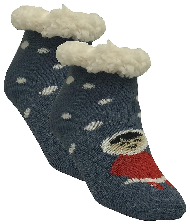 1 Paar Kuschelsocken, Hausschuhsocken für jungen und Mädchen mit Rutschfester ABS Sohle | warme Kinder Socken | Wintersocken, mit Anti Rutsch Noppen und Teddyfell |verschiedene Designs