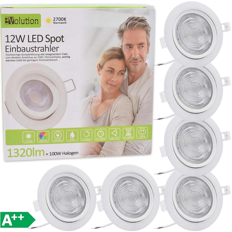 9x Evolution Faretto LED da incasso da bagno, 12 W, 1320 lm, 230 V, IP44, bianco caldo