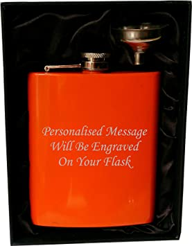 Engraved Steel HIP FLASK black 7oz in gift box with red liner free funnel