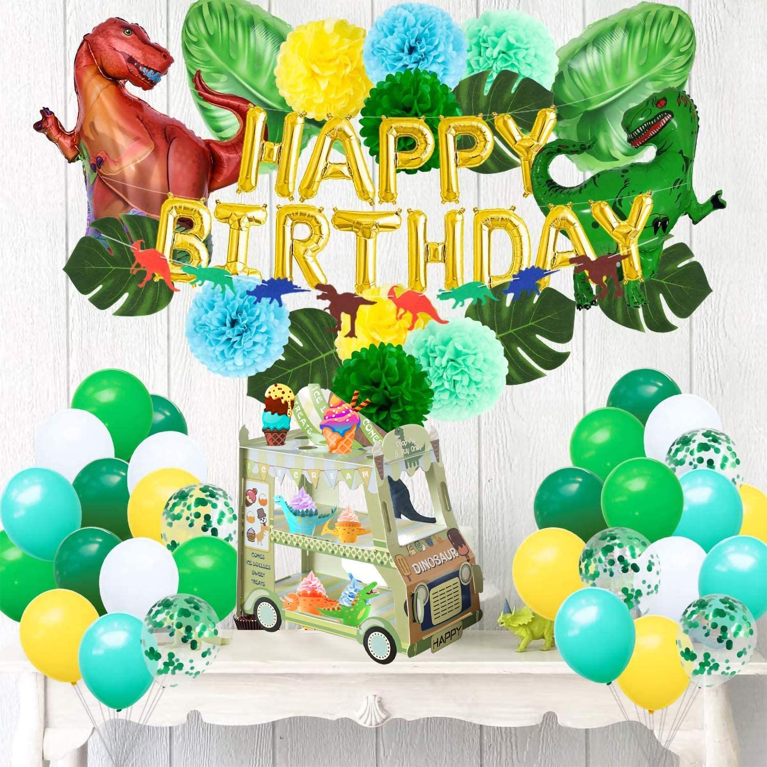Dinosaur Party Supplies For Kid,3 Tier Cupcake Stand Cardboard Assembled Truck Cake Stand Holder Dessert Display Tower for Kid Party Baby Shower Birthday Party Decorations