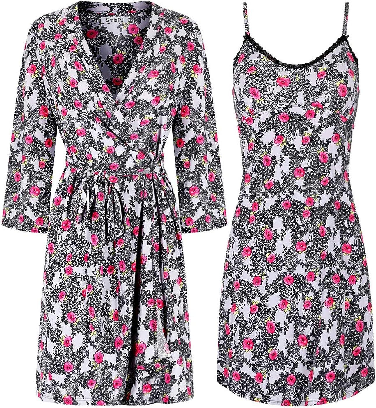 SofiePJ Women's Printed Chemise and Robe 2 Piece Sleep Set 816-MBsLGKL