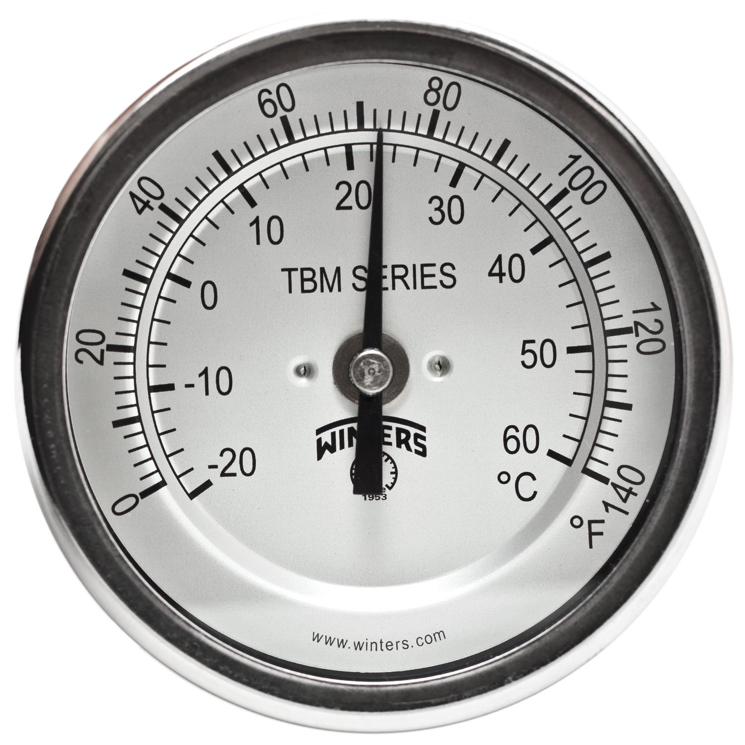 Winters TBM Series Stainless Steel 304 Dual Scale Bi-Metal Thermometer, 4'' Stem, 1/2'' NPT Fixed Center Back Mount Connection, 3'' Dial, 0-140 F/C Range