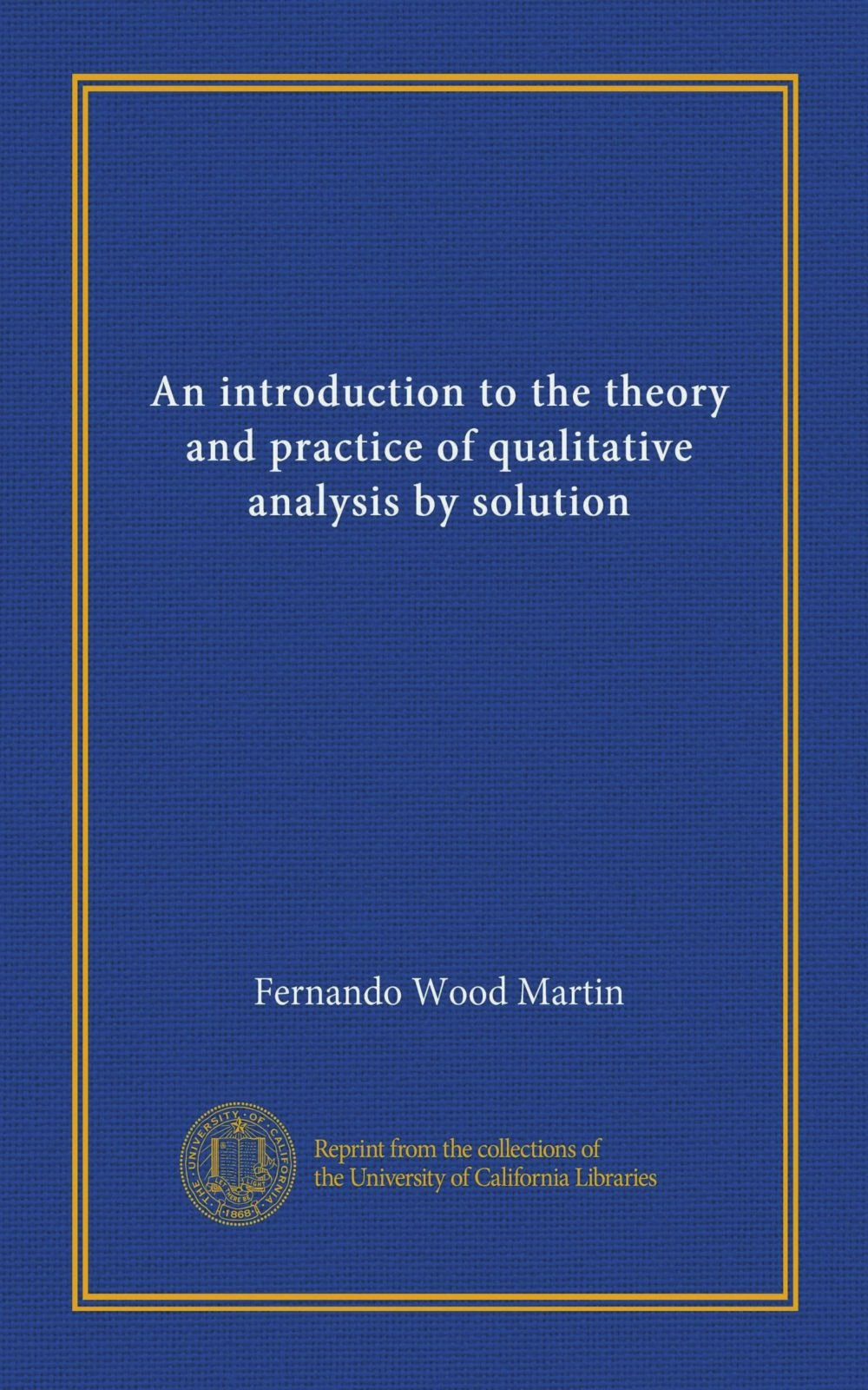 Download An introduction to the theory and practice of qualitative analysis by solution pdf