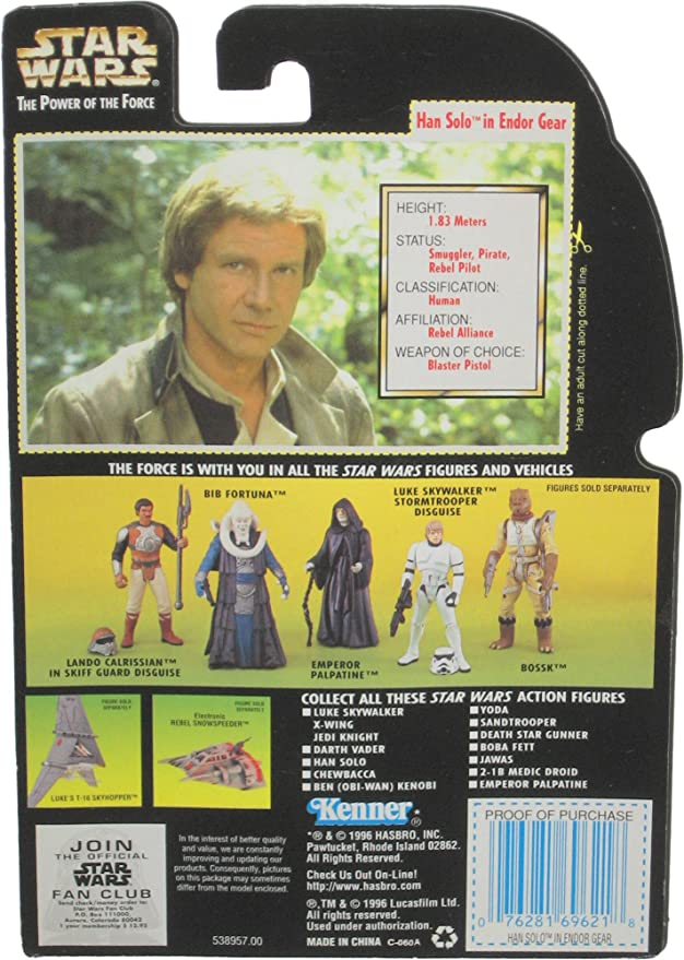 Star Wars Power of the Force Green Card Han Solo Endor Gear In Package
