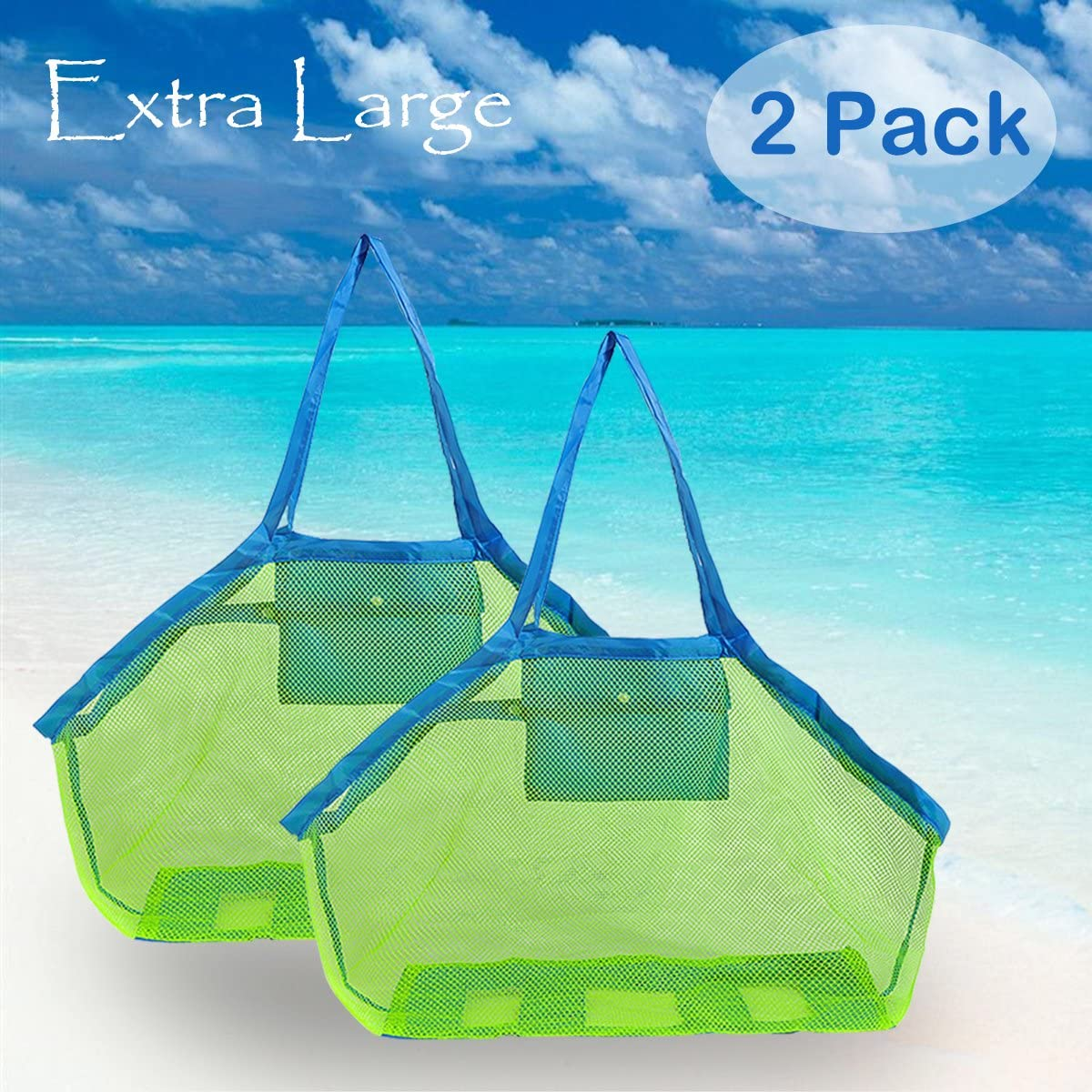 Set of 2 bags of mesh beach-ideal for storage of toys or se...