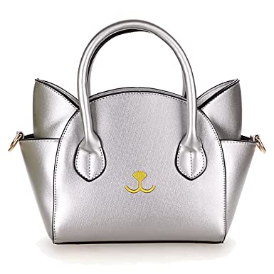 Amazon.com  EPLAZA Women Girls Cat Satchel Cross Body Shoulder Bag Tote  Handbag (smiling lips silver)  Clothing 6a037fb8d0