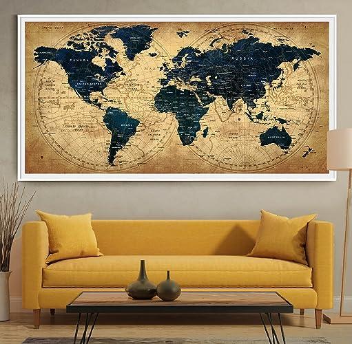 Amazon decorative extra large world map push pin travel wall decorative extra large world map push pin travel wall art poster country home decor gumiabroncs Image collections