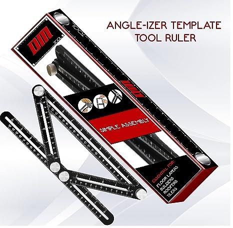 Marialove Aluminum Alloy Template Tool Multi Angle Measuring Ruler for Handymen DIY-ers Builders Craftsmen Layout Tool Measurement Multi-function Ruler