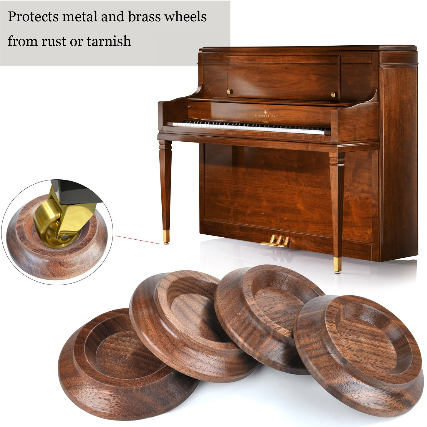 Upright Piano Caster Cups ,Solid Wood Furniture,Piano Caster Cups - Non-Slip & Anti-Noise Foam (black walnut) by WOGOD (Image #6)