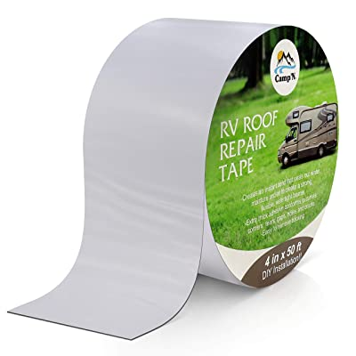 "Camp'N - RV Roof Tape - 4"" x 50' - Weatherproof Patch/Repair/Seal for Rubber and EPDM Roofs (4"" x50' White): Automotive"