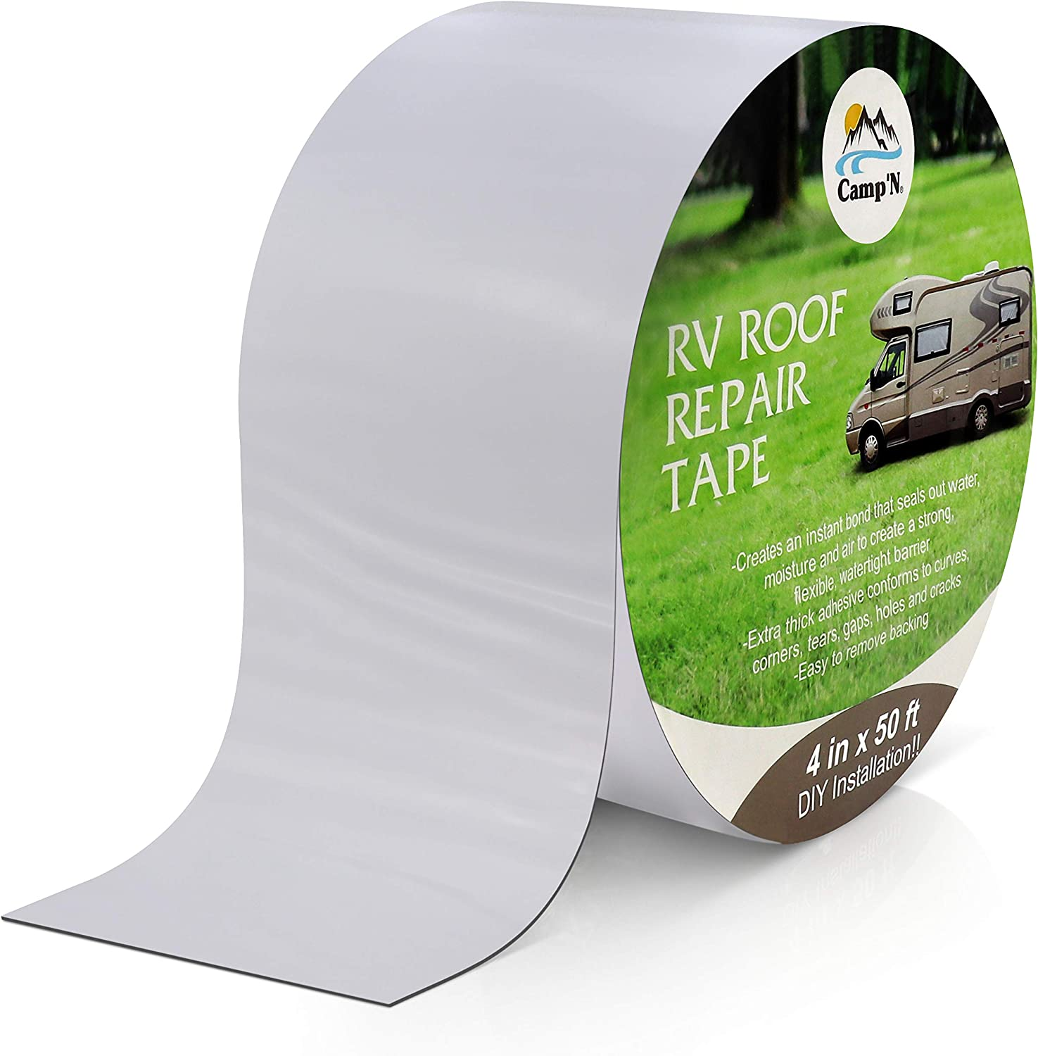 """LLPT Sealant RV Repair Butyl Tape White 2/"""" x 50 Feet Roof Patch RV Rubber Sealing Tape Weatherproof Strong Curling Resistance for Window RV Repair Boat Vent Camper Leaks SV502"""