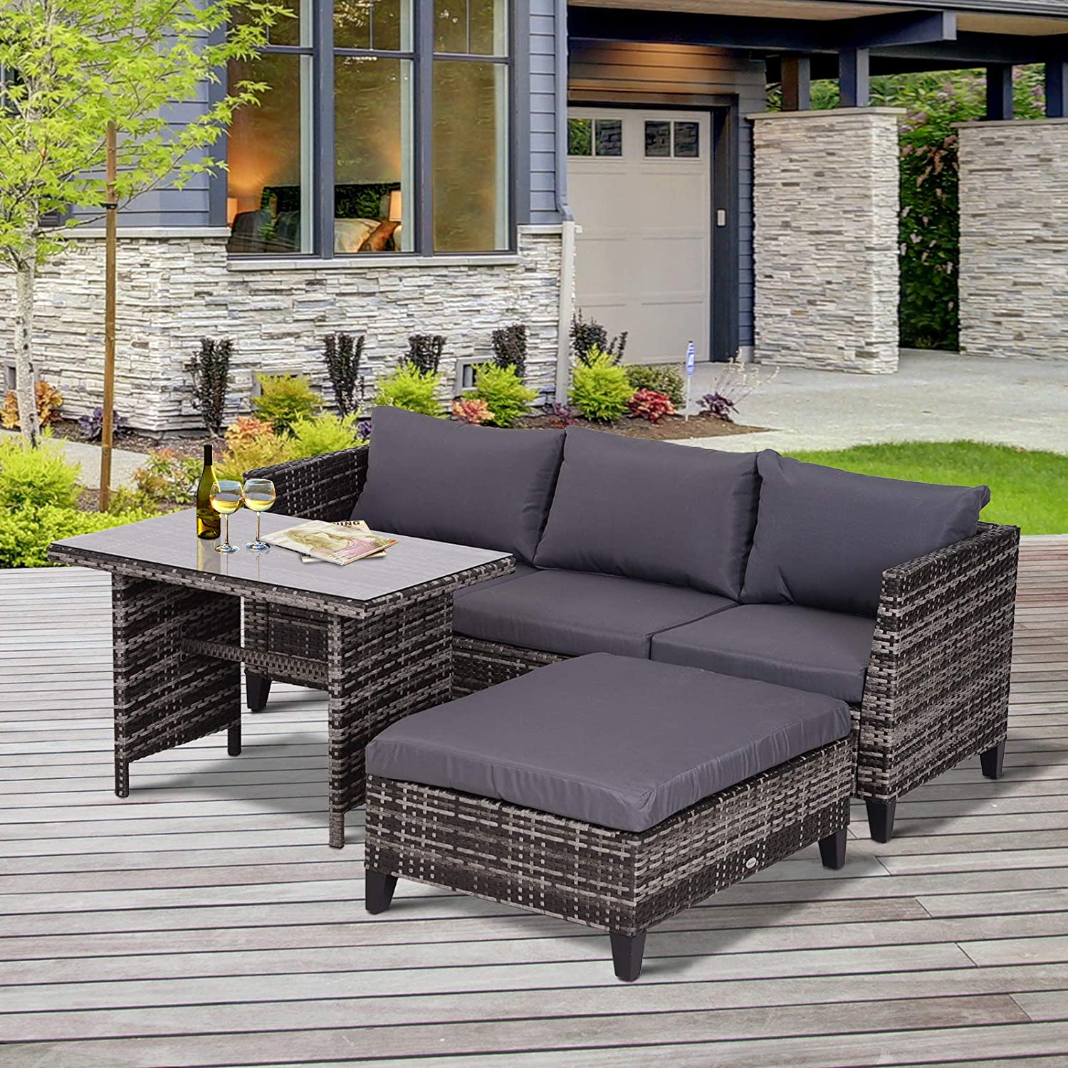 Outsunny 3pcs Garden Rattan Sectional Set Outdoor Chaise Lounge Sofa Wicker Three-Seater Sofa Ottoman /& Coffee Table w//Cushion Grey