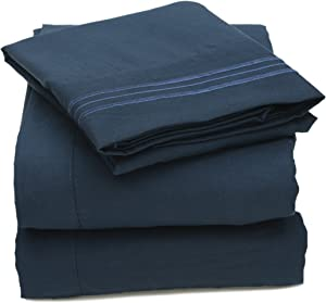 Sweet Home Collection 4 Piece 2000 12 Colors Collection Egyptian Quality Deep Pocket Bed Sheet Set, Full, Navy