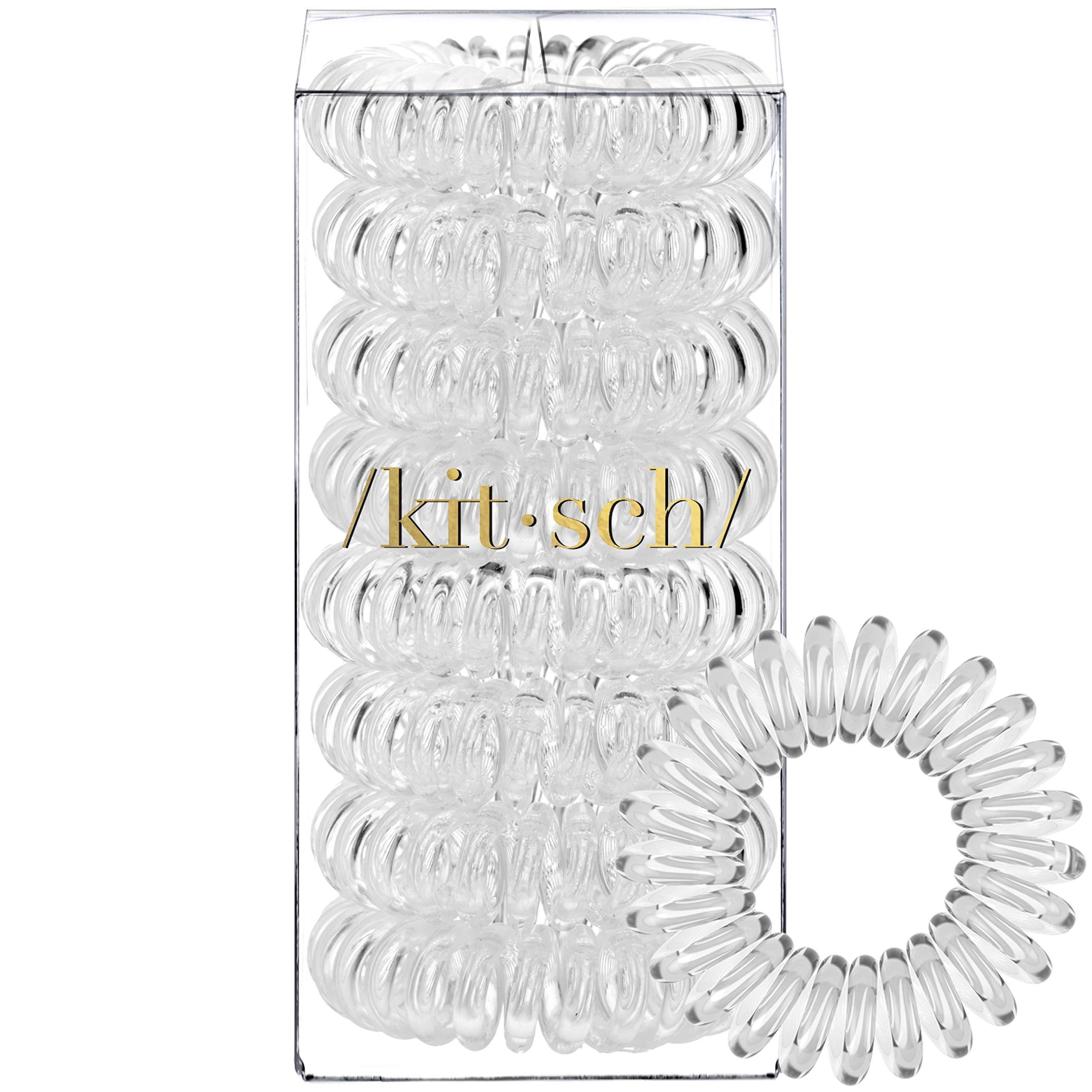Kitsch Spiral Hair Ties, Coil Hair Ties, Phone Cord Hair Ties, Hair Coils – 8 Pcs, Transparent