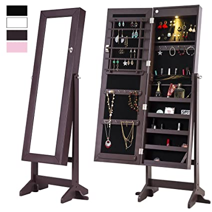 Attirant Amazon.com: Cloud Mountain Mirrored Jewelry Cabinet Free Standing Lockable  Jewelry Armoire Full Length Floor Tilting Jewelry Organizer With LED Light,  ...