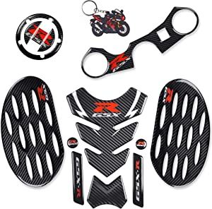 REVSOSTAR Real Carbon Look Gas Cap, Tank Pad, Triple Tree Front End Upper Top Clamp Decal Stickers,Tank Protector with Keychain for GSXR 600 GSXR 750 GSXR 1000 K6 K7 K8 K9 L1 2006-2017, 6Pcs Per Set