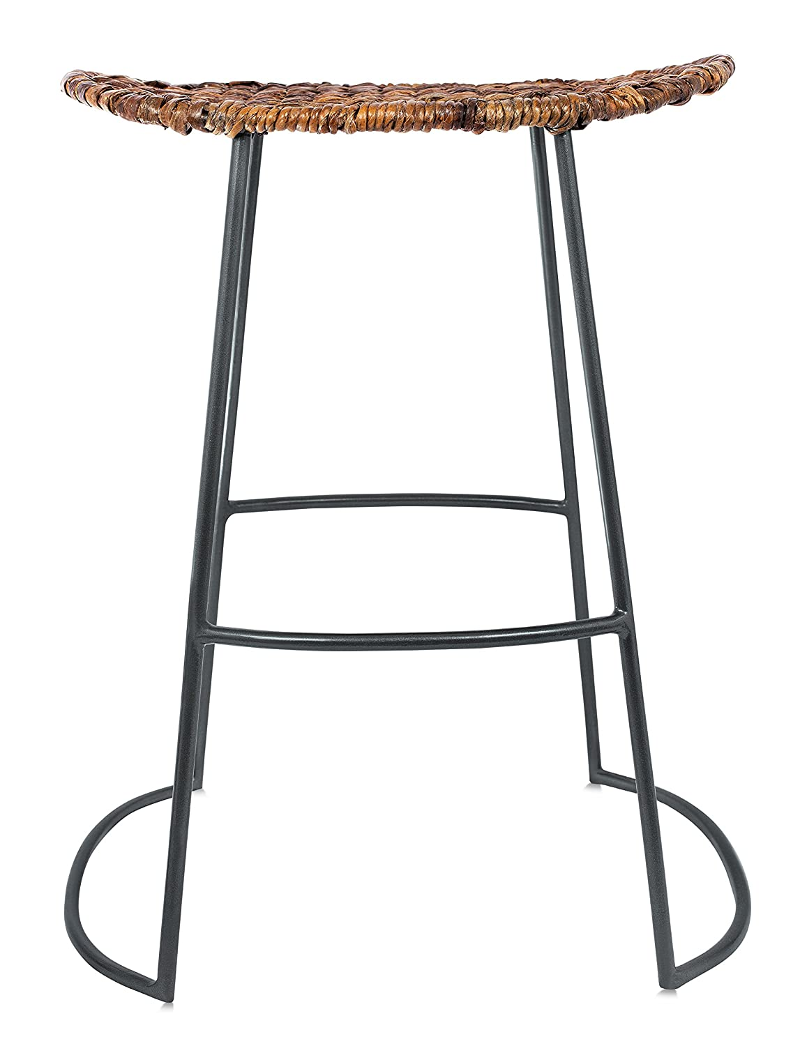 BirdRock Home Industrial Seagrass Counter Stools – Hand Woven – Metal Frame – 24 inches – Set of 2 – Kitchen Island Stool – Counter Height – Backless