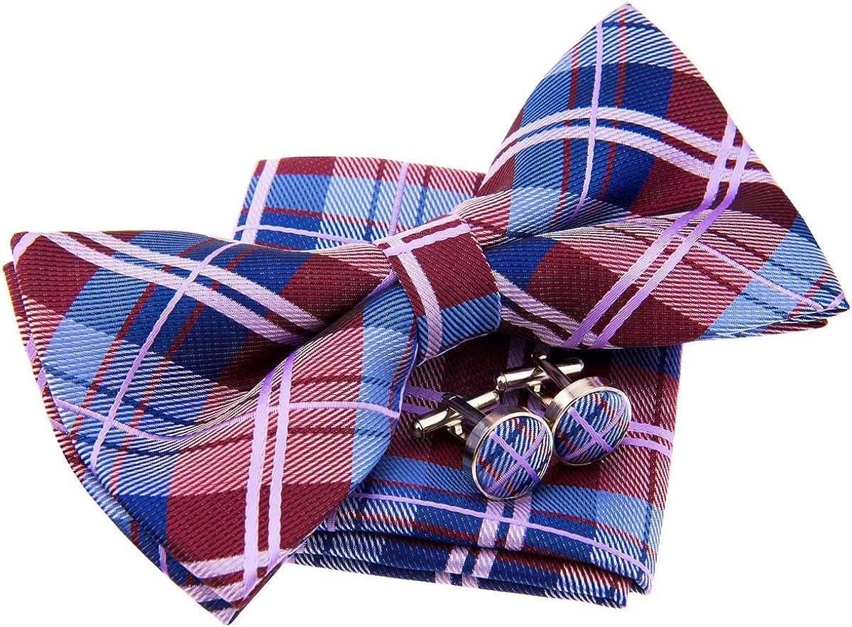 Elegante papillon in tartan a quadretti intrecciati prelegati 5 set regalo con tasca quadrata e gemelli