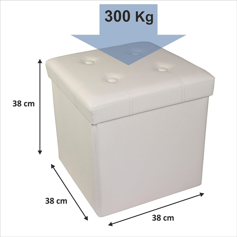 charge maximale de 300 kg Beige 38 x 38 x 38 cm D/&D Quality Pouf de rangement assise rembourr/ée pliable ext/érieur en similicuir doux