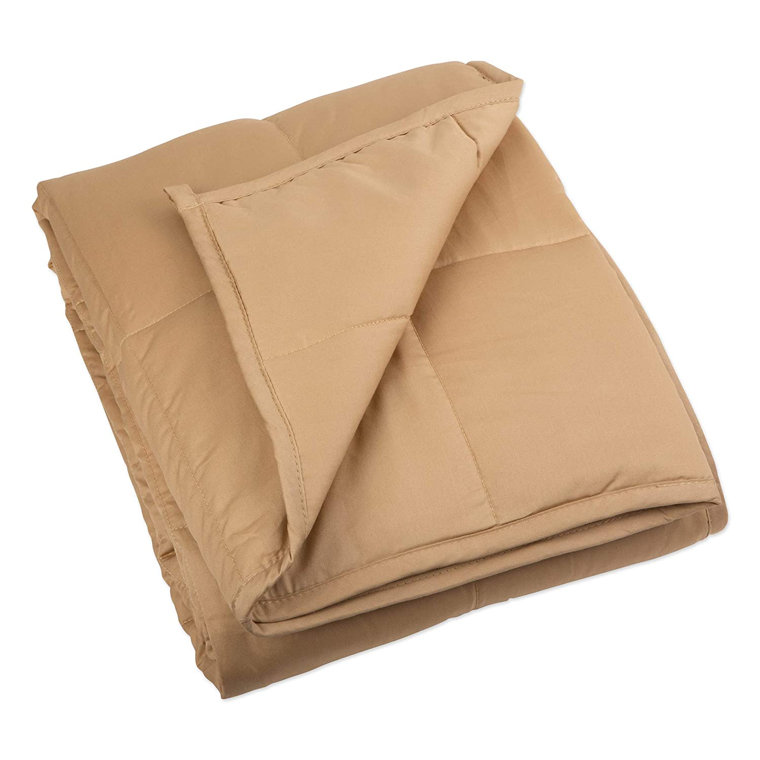 "CDM product DII Bucky Z02292 Weighted Blanket for Anxiety, ADHD, Autism, Insomnia, Stress Relief, 100% Cotton with Hypo-Allergenic Glass Beads, Fits Queen Sized Bed, 60""X80""-20Lbs, Taupe big image"