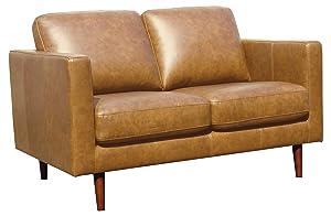 "Rivet Revolve Modern Leather Loveseat with Tapered Legs, 56.3""W, Caramel"