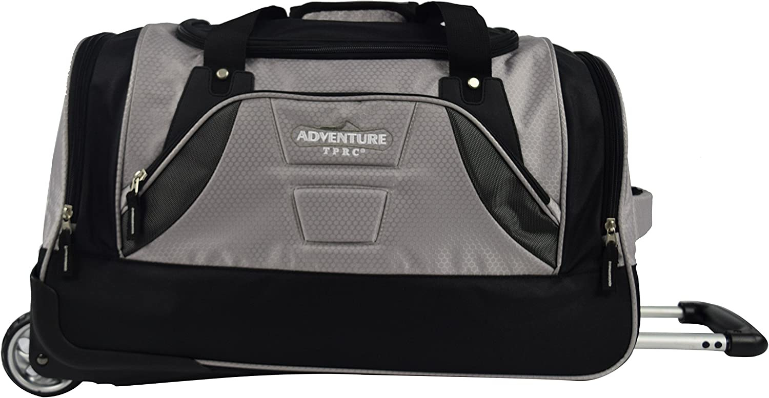 TPRC 21 Adventure Rolling Duffel Constructed with Honeycomb Designed RIP-STOP Material Includes Dual Side Pockets and Front Accessory Pocket, Gray Color Option