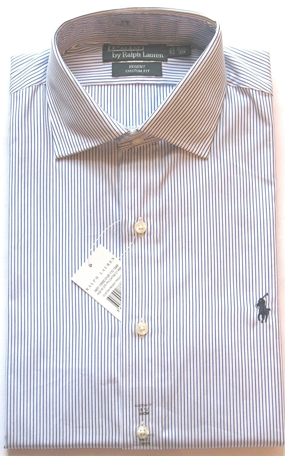 Ralph Lauren Shirt 'Regent' Custom Fit Mens White with Blue Stripe