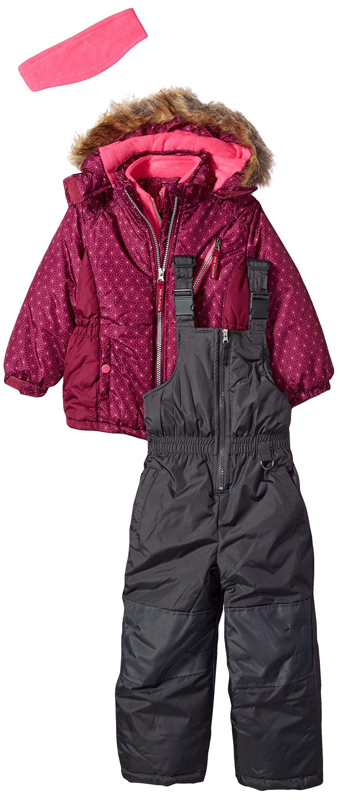 Pink Platinum Girls' Little' Printed Super Snowsuit, Magenta, 4 by Pink Platinum