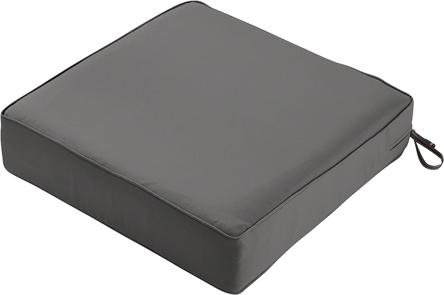 "Classic Accessories Montlake Seat Cushion Foam & Slip Cover, Light Charcoal, 25x25x5"" Thick"