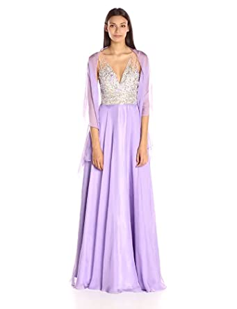 JVN by Jovani Womens Lavender Chiffon Prom Dress