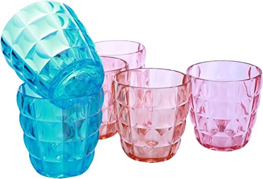 Amazon Com Plastic Drinking Glasses Acrylic Cups 14 Oz Dishwasher Safe Tumblers Bpa Free 100 Assorted Colors Plastic Glass Set Of 6 M M Productions Mixed Drinkware Sets