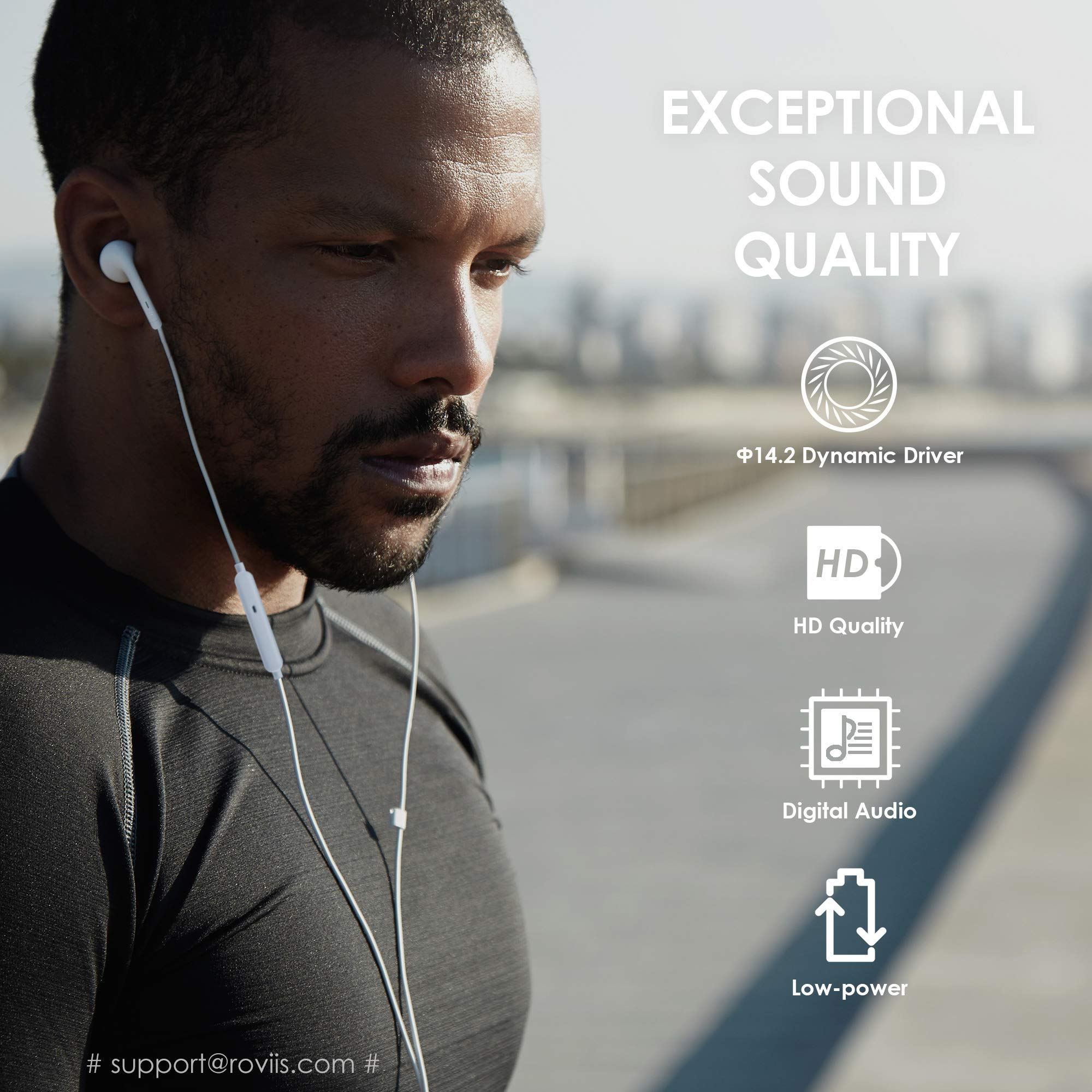 Lightning Headphones Earphones Earbuds with Microphone and Remote Control, MFi-Certified, Compatible with iPhone X/XS/Xs Max/XR iPhone 8/P iPhone 7/P, in-Ear, ROVIIS R1 by ROVIIS (Image #4)