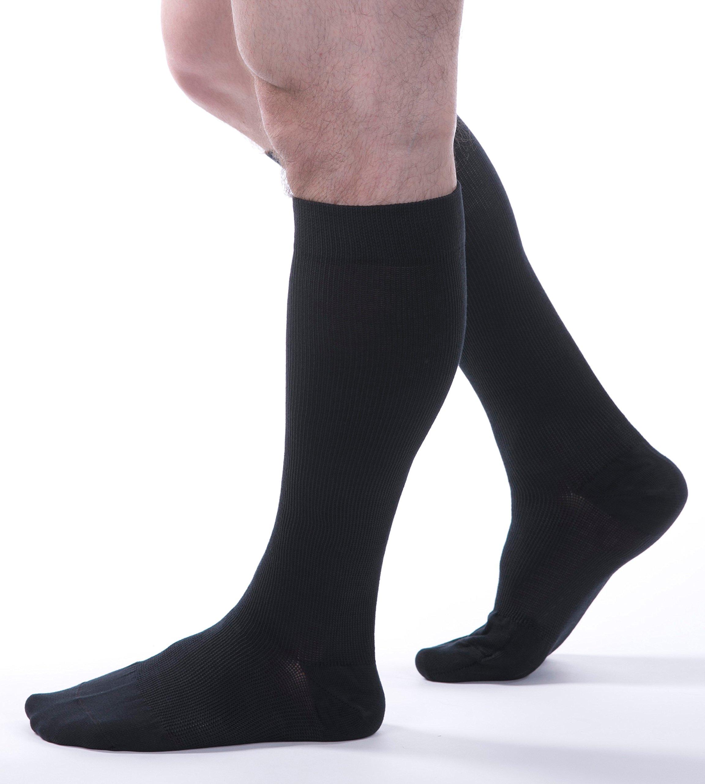 Allegro Mens Cotton Knee High 20-30mmHg - Item# 111 (Black-Large)
