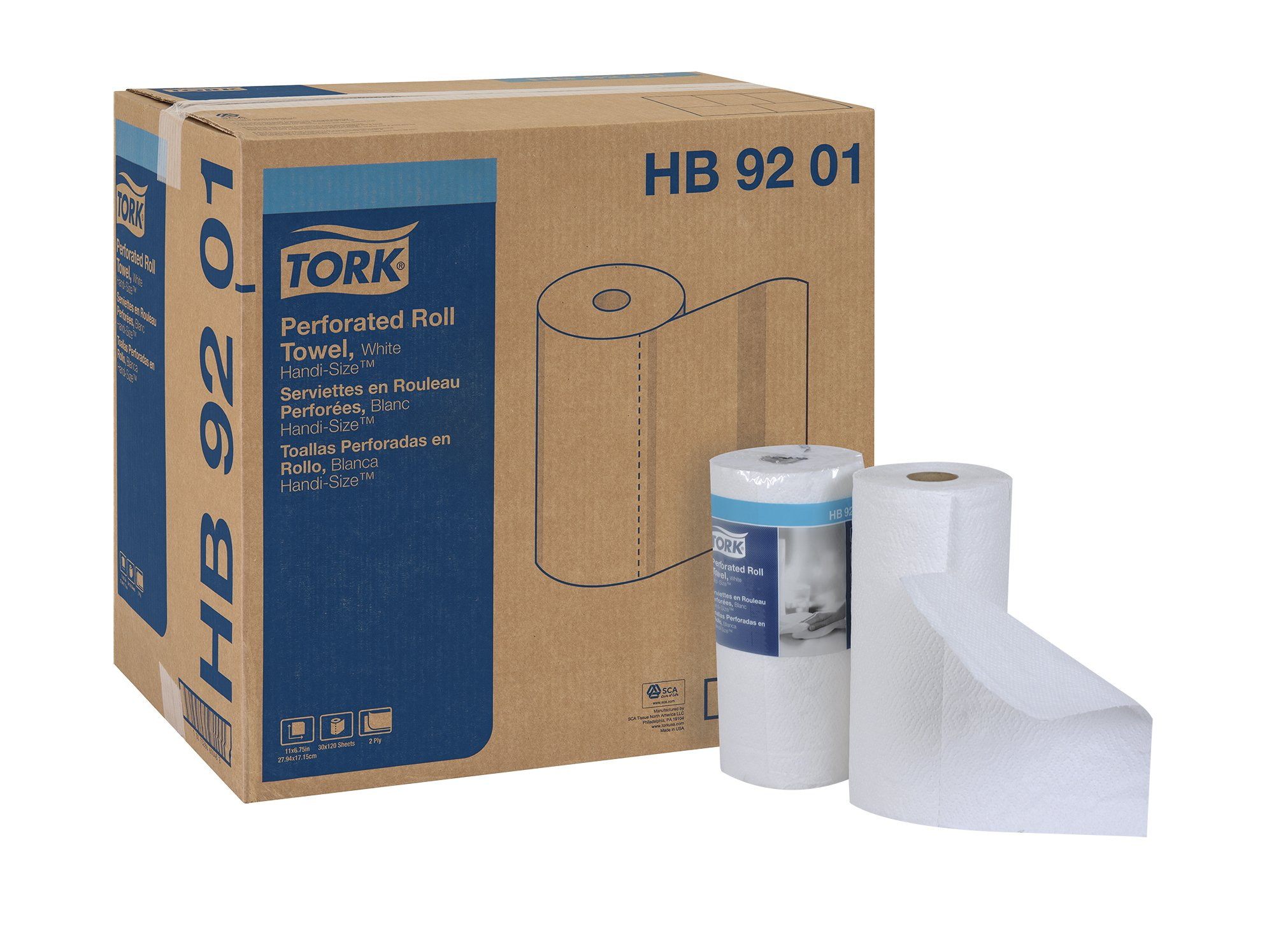 Tork HB9201 Handi-Size Perforated Paper Roll Towel, 2-Ply, 11'' Width x 6.75'' Length, White (Case of 30 Rolls, 120 per Roll, 3,600 Towels)