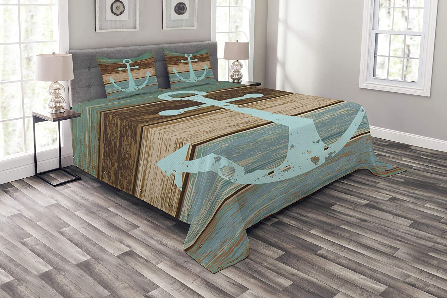 Ambesonne Anchor Bedspread, Timeworn Marine on Weathered Wooden Planks Rustic Nautical Theme, Decorative Quilted 3 Piece Coverlet Set with 2 Pillow Shams, Queen Size, Teal Brown