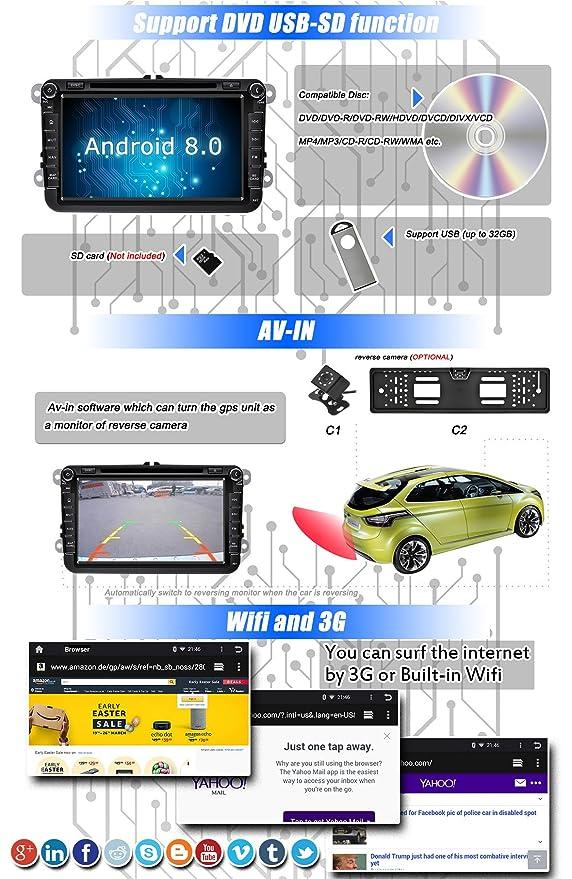 Ohok 2 DIN Android 8.0.0 Autoradio 8 Pulgadas Oreo Octa Core 4GB Ram 32GB ROM Reproductor DVD/GPS Navegador Soporta AV-IN SWC para VW Volkswagen Seat Skoda ...