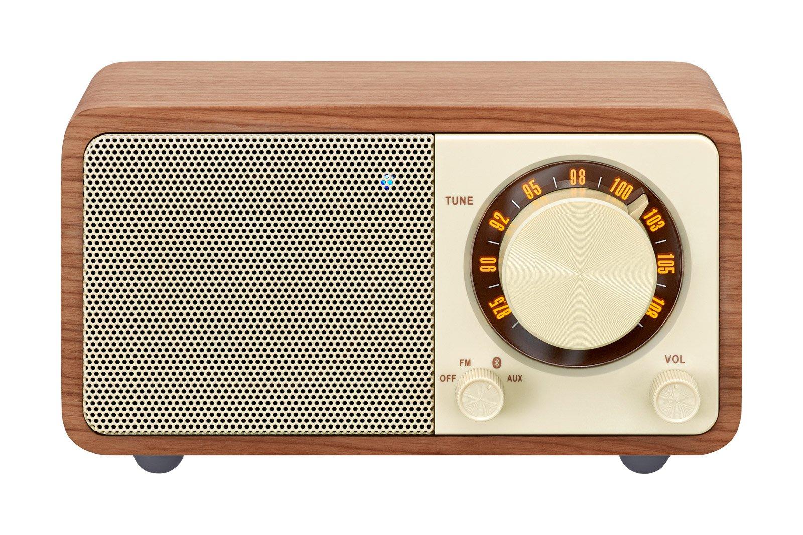 Sangean WR-7WL Wood Cabinet Mini Bluetooth Speaker with FM Tuner and Aux-in Walnut/Wood
