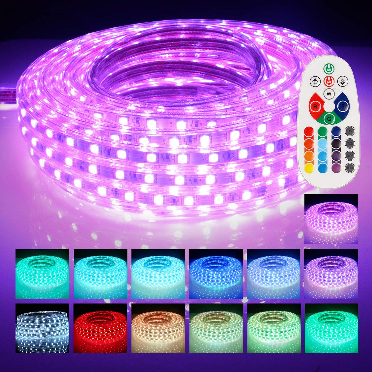 LED Strip Lights, Remote Controller RGB Waterproof Rope Light, Flexible Multi-color Change LED Strip Rope Wire Light for Party Holiday Home Decoration 5050 SMD 60 LEDs/M 110V 50 FT