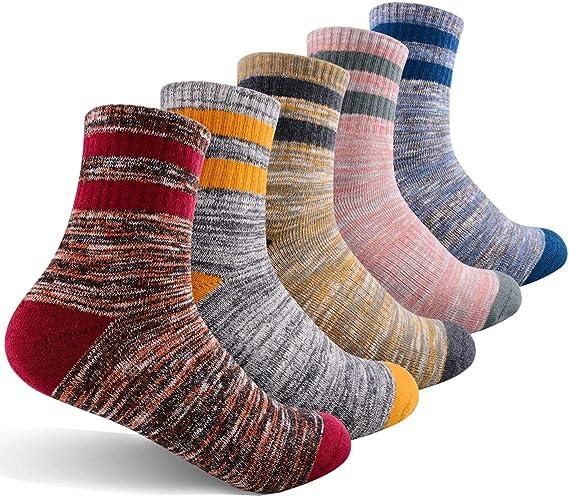 Womens Hiking Walking Socks 5 Pairs Outdoor Recreation Wicking Cushion Crew Socks