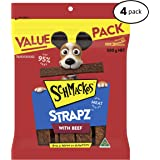 Schmackos Strapz Beef Flavour Dog Treats 2kg Value Pack, (4 x 500g bags), Puppy/Adult/Senior, Small/Medium/Large