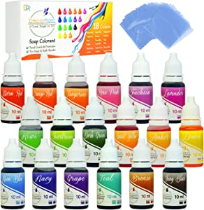 18 Color Bath Bomb Soap Dye with Shrink Wrap Bags - Food Grade Skin Safe Coloring for DIY Bath Bomb Making, Handmade Soaps, Crafts (18 Color + Shrink Wrap Bags)
