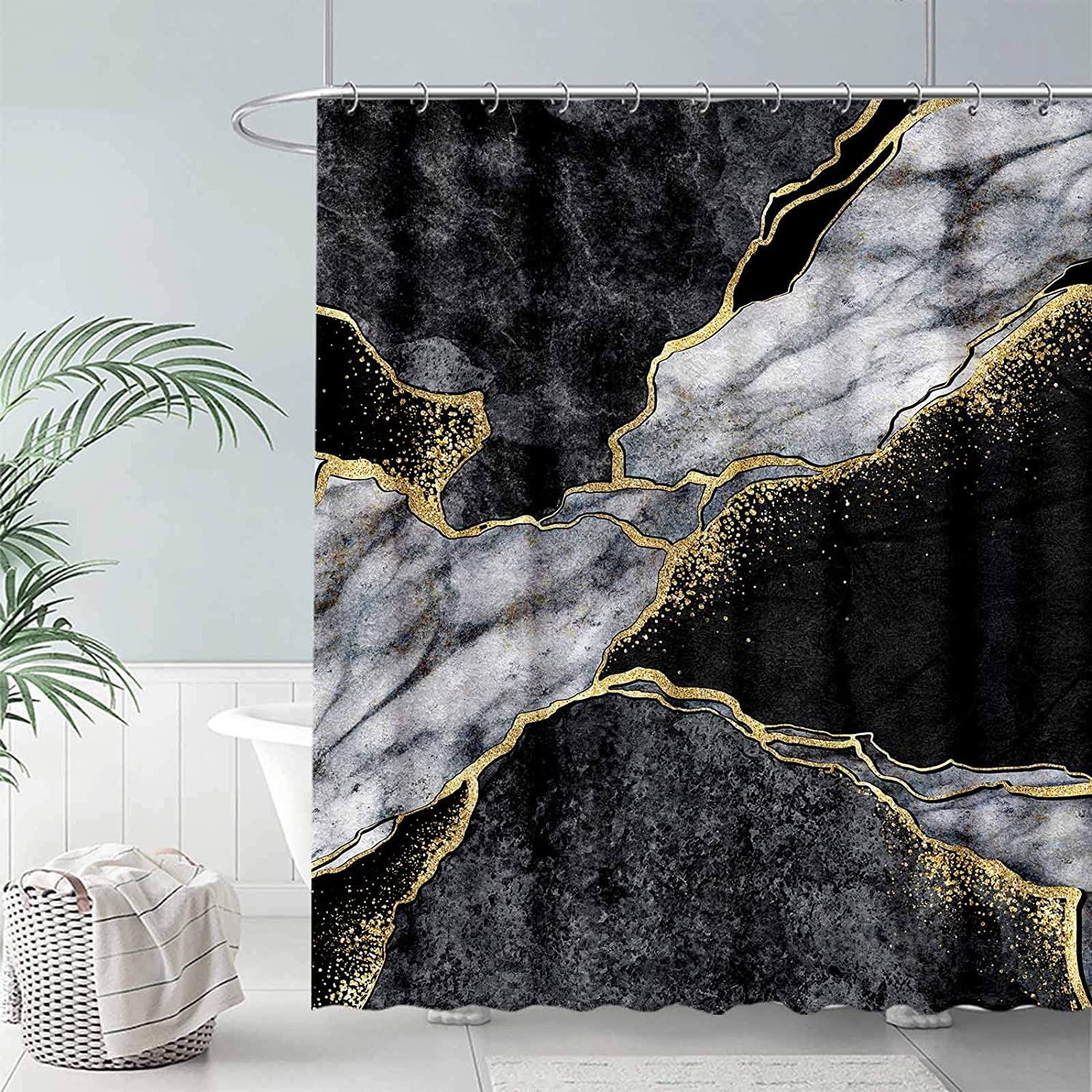 FULLSAIL Black and White Marble Texture Shower Curtain Set Gold Abstract Art Pattern Bathroom Bathtubs Decor with 12 Hooks Easy Care Waterproof with Washable Durable Polyester Fabric 72