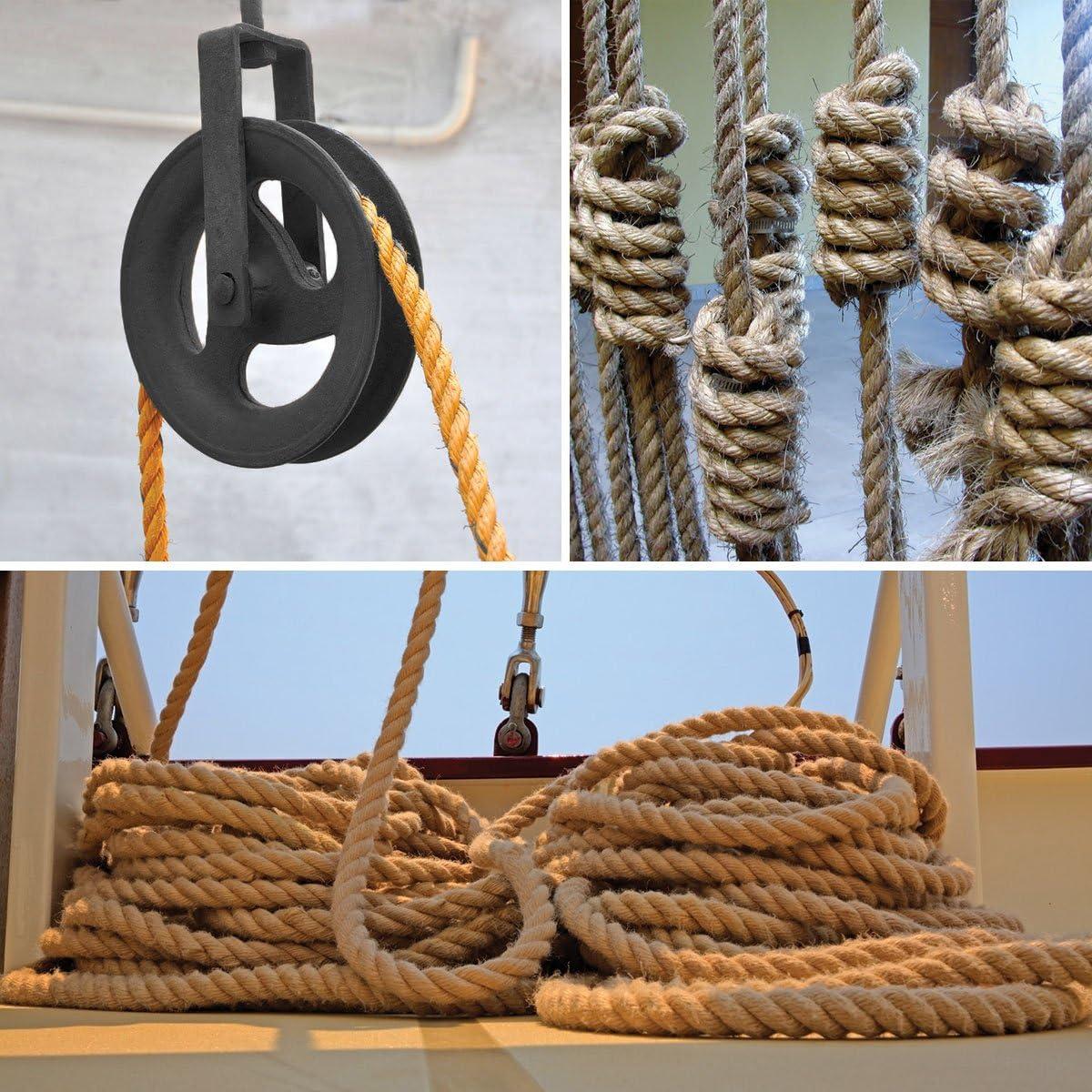 Seilwerk STANKE Cuerda de Yute 50 m de 12 mm Hilos Naturales Aparejo C/á/ñamo Jute Cuerda Tender la Cuerda Cuerda de Barandilla
